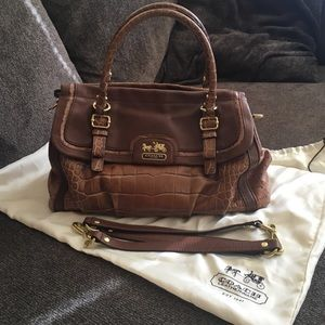 Rare Croc/Ostrich embossed leather Coach Bag!!!!